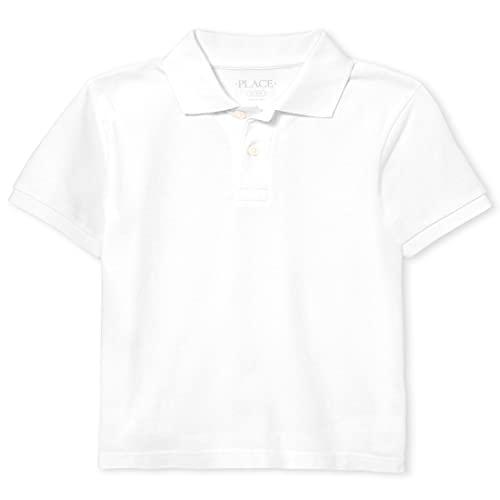 The Children's Place boys Single Short Sleeve Pique Polo, White,...