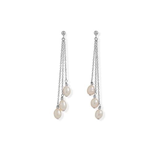 Cadena de perlas cultivadas de agua dulce de plata de ley 925, pendientes largos chapados en rodio, poste de 5 mm x 7 mm, perlas en D, regalos para mujeres