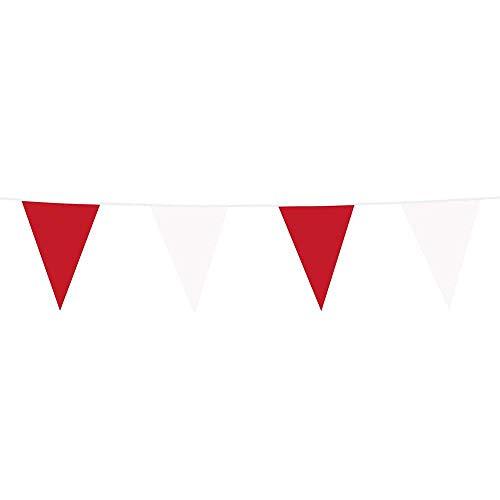 Boland 74726 - Guirnalda de banderines de plástico para Colgar (10 m), Color Rojo y Blanco