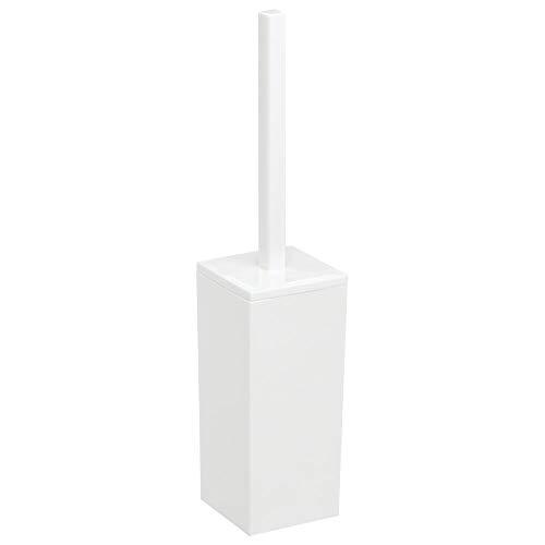 mDesign Escobilla de baño de plástico – Portaescobillas rectangular para el baño principal o el aseo de invitados – Práctico cepillo para inodoro con soporte – blanco