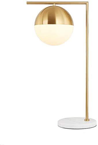 Lamparas de mesita de noche Lámpara de mesa de cristal esférica, lámpara de mesa de metal de color cobre, lámpara de mesa de mármol de 36 * 63,5 cm, pequeña y exquisita, lámpara de mesa dulce en la gu
