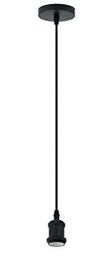 Trango 9000B moderne E27 Lampenfassung Halter Aufhängung in schwarz-verchromt für Lampen inkl. Schraubring Länge ca. 1,10m m. Textilkabel