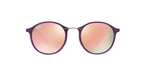 Ray-Ban Women's Mirrored Round Sunglasses, Shiny Violet/Brown Pink, One Size