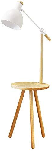 Leselicht Eiche Stativ Stehlampe, mit einem kleinen Tisch, verstellbarer Lampe, Leuchtturm mit Boden, Stehlampe Nordic,Wood color