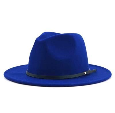 Sombrero Fedora de Fieltro Vintage Simple para Hombres y Mujeres con ala Ancha Caballero Elegante Dama Invierno Otoño Jazz Gorras-blue-55-58cm
