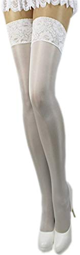 Unbekannt Satin Glanz halterlose Strümpfe 40 den Satinstrümpfe Farben Braut Hochzeit S-4XL (XL/XXL -5/6, weiß)