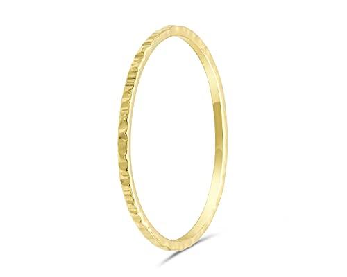 fajno | Minimalist Goldring für Frauen, gehämmert. Goldring Damen. Simpler Goldring, Goldschmuck, 18k Gold | Stapelring, Bandring, Ring Damen