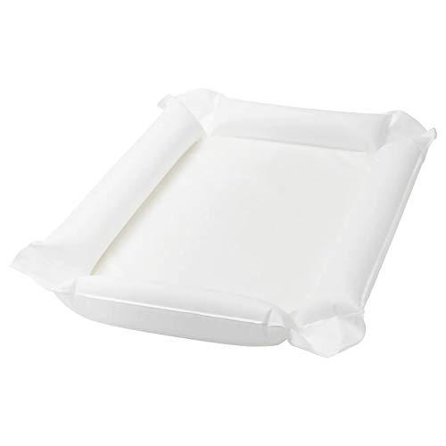 Babypflegematte weiß wasserabweisend Produktgröße: Länge: 80 cm Breite: 53 cm Höhe: 2 cm Materialien: Grundmaterial: 80/20% PEVA Füllmaterial: PU-Schaum Ventil: EVA Kunststoff