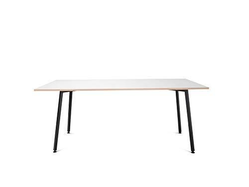 Modulor Tisch Y1 mit pulverbeschichtetem Tischgestell und geperlter Tischplatte (1,9 x 80 x 160 cm), Schreibtisch mit inklinierten Beinen, schwarz und weiß (80 x 160 cm)
