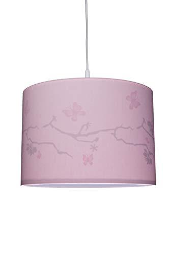 Waldi Leuchten Chambre Lampe Suspension avec Motif Papillon Rose, E14
