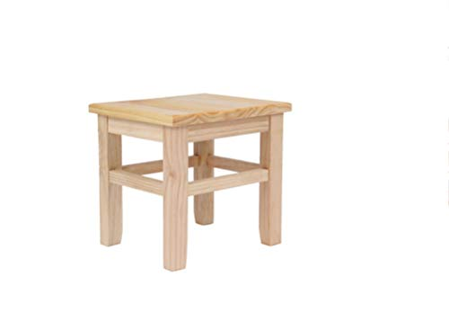 TongN, sgabello quadrato in legno di pino massiccio, sgabello piccolo per cambiare scarpe, sgabello casa, 24 x 21 x 26 cm