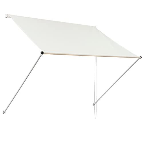 ML-Design Markise 400 x 120 cm, Beige, 50+ UV-Schutz, aus Metall und Polyester, Seilzug, Schattenspender Fenster, Einziehbar Klemmmarkise Balkonmarkise Spannmarkise Sonnenschutz Windschutz