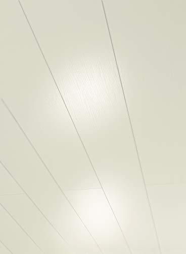 Parador Wand & Decke RapidoClick - Dekor Esche weiß glänzend geplankt - Dekorpaneele feuchtraumgeeignet, einfache Klick-Montage - 1274 x 206 x 12 mm