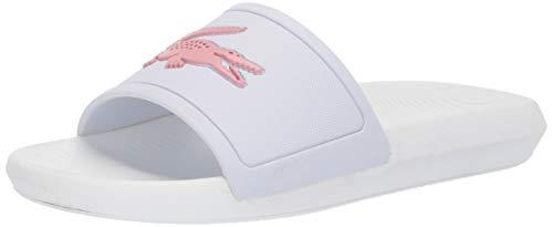 Lacoste Womens Croco Slide Slide Sandal, White/Light Pink, 9 M US
