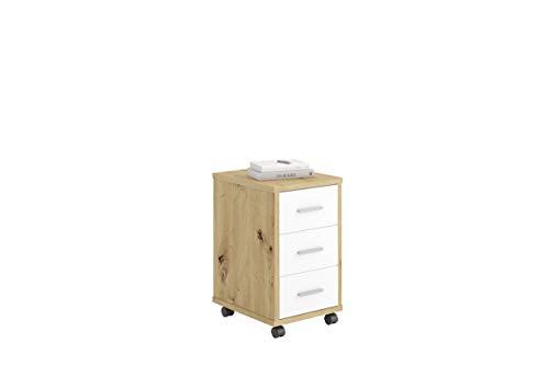 FMD furniture Cassettiera con rotelle, truciolato, Artisan, Rovere e Bianco Brillante, ca. 35 x 53,6 x 42 cm