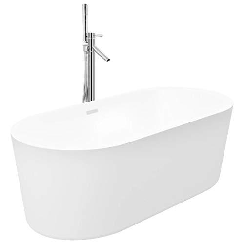 vidaXL - Bañera independiente y grifo de ducha para casa o cuarto de baño, resistente a las manchas y a los arañazos, 204 L, 110 cm, color plateado