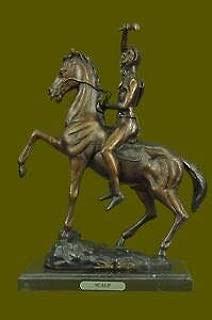 LuxMart Warrior Man with Running Horse Statue Handcrafted Bronze Sculpture Sale Decor T