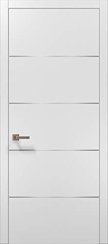 Modern White Modern Door 28x80 with Strips   Planum 0020 Matte White   Frame Trims Lever Satin Nickel Hardware   Closet Solid Core Door