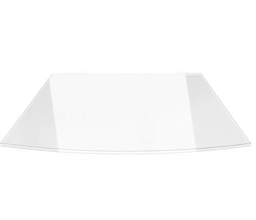 Segmentbogen 120x140cm - XXL Funkenschutzplatte Klarglas Kaminbodenplatte Glasplatte Kaminofenunterlage Ofenplatte (Segmentbogen 120x140cm mit Silikon-Dichtung)