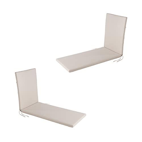 Edenjardi Pack 2 Cojines para Tumbona de Exterior estándar Olefin Color Crudo | Tamaño 196x60x5 cm | No Pierde Color | Desenfundable | Portes Gratis
