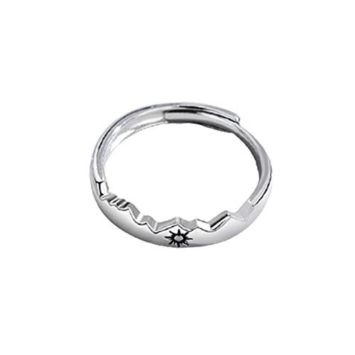 Feixing Anillos de compromiso de plata de ley, anillos de compromiso, sol y luna, 2 en 1, abiertos, ajustables