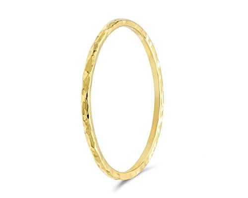 fajno   Goldring Damen gehämmert 750 Echtgold   Goldschmuck 18k Gold   Stapelring, Vorsteckring minimalistisch, dünn   Geschenkidee für Frauen