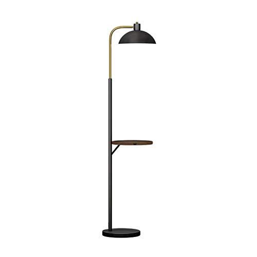 LJ Hauptbeleuchtung Stehleuchte Metall Stehleuchte - Stehlampe mit kabelloser Aufladung + Ubs Aufladung mit Holztischplatte Regal für Wohnzimmer Schlafzimmer Stehende Innenbeleuchtung,Schwarz