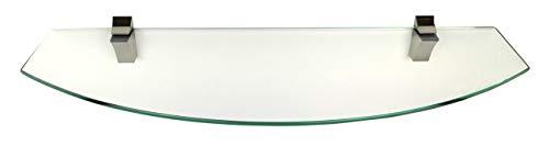 6 mm Glasregal Wandregal 60 cm Klarglas halbrund (oval) mit Clip Edelstahl-Finish - 1 Regal