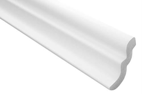 Zierleisten Sparpaket E-7   leicht und stabil   extrudiertes Styropor   Stuckprofile   Decken-/ und Wandübergang   modern weiß   dekorativ   XPS   46 x 50 mm   30 Meter