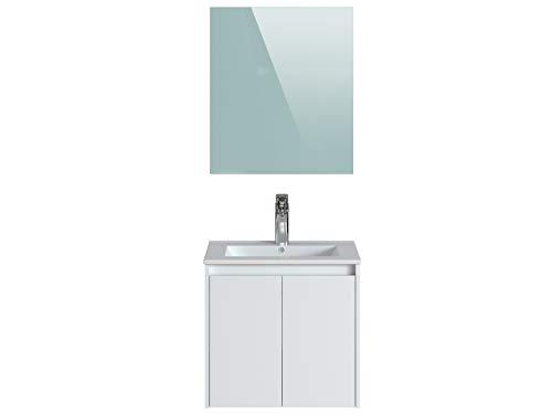Marca Amazon -Movian Layon - Mueble de baño con espejo y lavabo, 61 x 46,5 x 58 cm, blanco