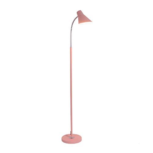 MYBA Lámpara de pie LED, moderna lámpara de pie con mando a distancia, dormitorio, salón, despacho, oficina, lámpara de lectura, lámpara de pie, lámpara de mesa de salón (color: rosa)