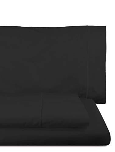 Home Royal - Juego de sábanas Compuesto por encimera, 160 x 285 cm, Bajera Ajustable, 90 x 200 cm, Funda para Almohada, 45 x 110 cm, Color Negro
