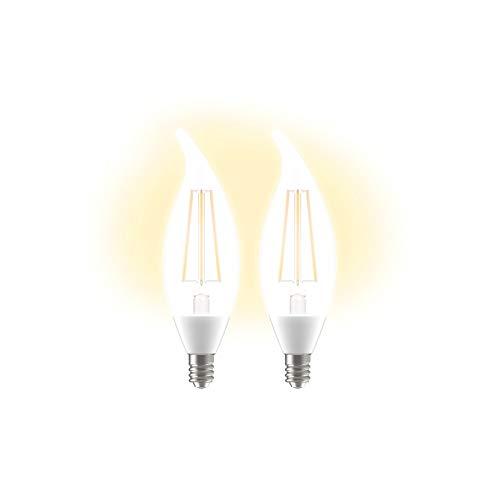 GE Lighting LED+ Dusk to Dawn Light Bulbs, Sunlight Sensor Outdoor LED Light Bulbs, 60-Watt Replacement, Soft White, Candelabra Base, CAC Damp Rated, 2-Pack