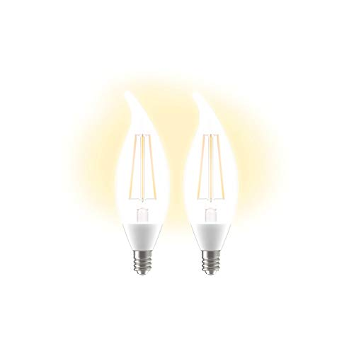 LED+ Dusk to Dawn Light Bulbs, Outdoor LED Light Bulbs, 60-Watt Replacement, Soft White, Candelabra Base, Sunlight Sensor Light Bulbs, Outdoor Light Bulbs, 2-pack CAC Damp Rated