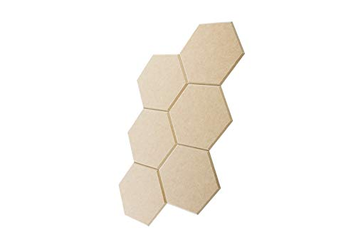 "6 Pack Hexagon Acoustic Panels Sound Dampening Panels, Beveled Edge Sound Proof Padding Soundproofing Absorption Panel, 14"" x 12"" x 0.4"" High Density Wall Tiles for Acoustic Treatment (Dark Camel)"