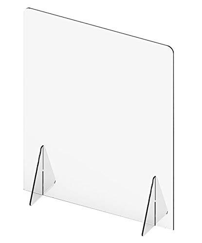 Mampara divisoria de metacrilato 50 cm ancho x 66cm de alto, 3 mm de grosor, sin ventanilla, transparente