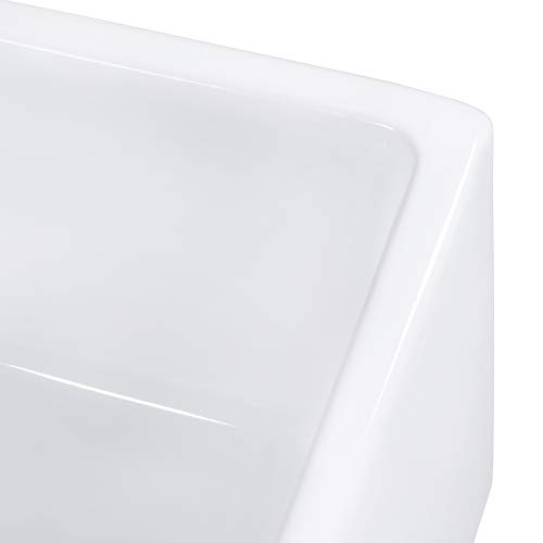 Ruvati 30-inch Fireclay Farmhouse Offset Drain Kitchen Sink Single Bowl White - Right Drain - RVL2018WR