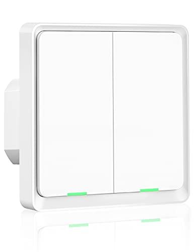 Interruptor de Luz WiFi, Maxcio Interruptor Inteligente 2 Gang Control de APP, Compatible con Alexa Echo y Google Home, Interruptor Pared WiFi con Temporizador, Neutro Requerido