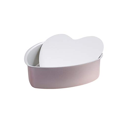 XXT-Hornear Torta Torta del Molde del Molde de la Forma del ánodo de aleación de Aluminio Redonda Corazón de 8 Pulgadas Home Baking Vivo del Molde Inferior Qi