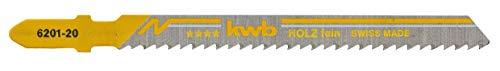 KWB 49620125 Paquete profesional de 5 hojas de sierra de calar para madera, fino, acero al carbono HCS, vástago de leva simple, T101B, p. ej. para Einhell RT-JS 85