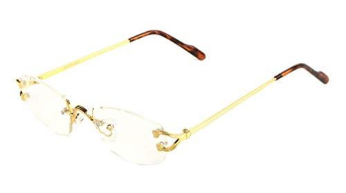Savant Slim Rimless Geometric/Oval Luxury Sunglasses, Gold Metallic Frame W/ Brown Tortoise Ear Pieces & Case, One Size