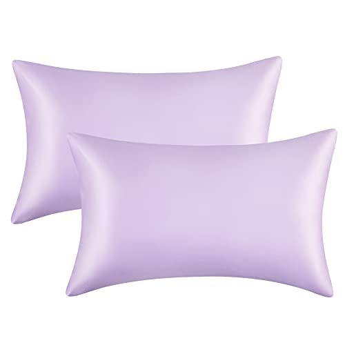 Bedsure Satin Pillowcase for Hair and Skin Queen - Lavender Silk Pillowcase 2 Pack 20x30 inches - Satin Pillow Cases Set of 2 with Envelope Closure