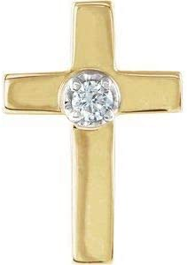 PicturesOnGold Diamond It is very popular Cross Lapel Pin Yellow 14K Nashville-Davidson Mall in Solid Gold