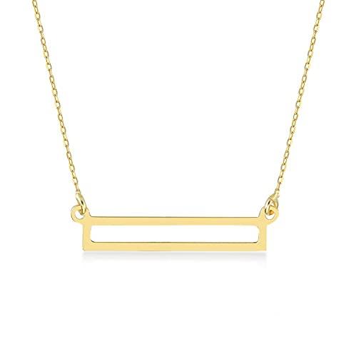 Gelin Collar con colgante de barra abierta de oro de 14 quilates para mujer, 45,72 cm