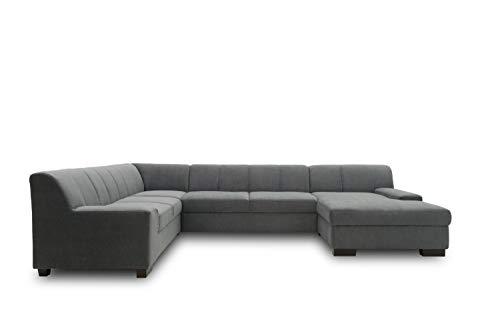 DOMO. collection Norma Wohnlandschaft, Sofa U-Form, Schlafsofa, Bettfunktion, Polstergarnitur, DKL. Grau, 212/328/153 cm