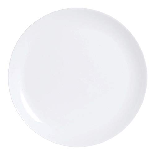 Luminarc Diwali Set 6 Platos Llanos de Vidrio Opal Extra Resistente 25cm, Blanco