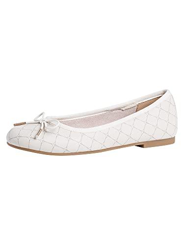 Tamaris Damen Klassische Ballerinas, Frauen Ballerinas,Touch It-Fußbett,elegant,Schleife,weiblich,Lady,Ladies,Women's,Cream/Logo,41 EU / 7.5 UK
