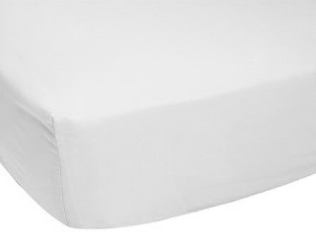 Luvable Friends Unisex Baby Fitted Portable Crib Sheet, White, One Size