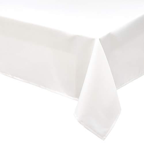 Amazon Basics - Mantel de poliéster para mesa, rectangular, lavable, 153 x 259 cm, blanco, 2 unidades