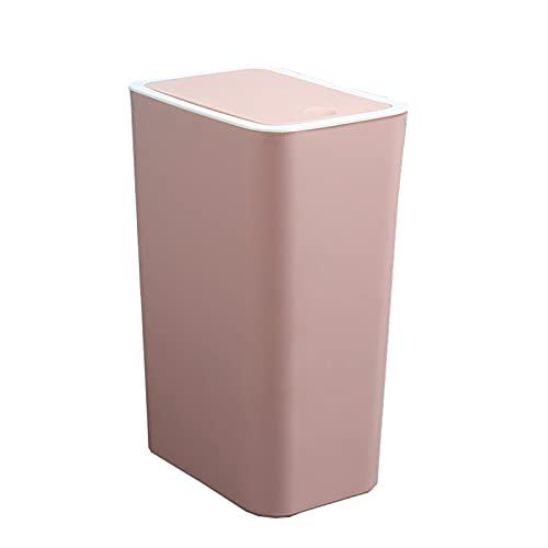 Unbne Bote de Basura de plástico Tipo Prensa Bote de Basura doméstico con Tapa Papelera Bote de Basura Compacto Simple para el hogar Oficina Baño Cocina,Rosado